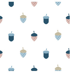 Blue scandi acorn simple seamless pattern vector