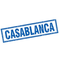 Casablanca blue square grunge stamp on white vector