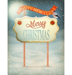 Christmas Vintage card with Signboard EPS 10 vector image