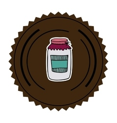 Color round frame with glass jam vector