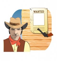 cowboy wanted vector image