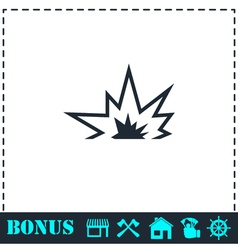 Explosion icon flat vector