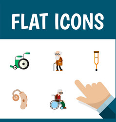 flat icon handicapped set of ancestor audiology vector image vector image