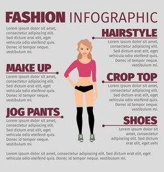 Girl in fitness clothes fashion infographic vector