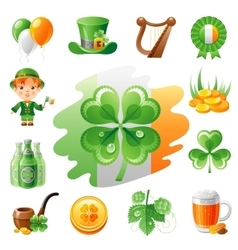 Happy saint patrick day icon set flat icons vector