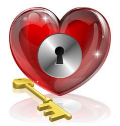 Heart lock and key vector