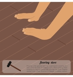Installing wooden flooring vector