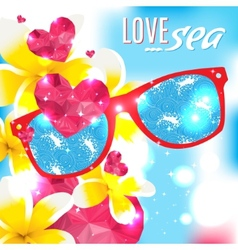 Love and the sea summer light vector