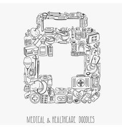 Medicine doodle background vector