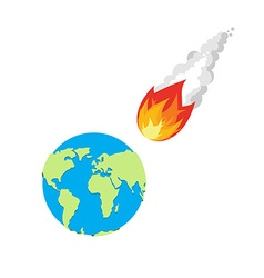 Meteor and Earth Fireball flies on planet Earth vector image