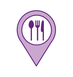 pin location with cutlery kitchen vector image vector image