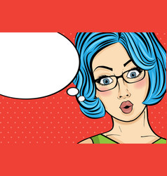 pop art woman comic woman with speech bubble vector image