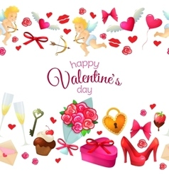 Seamless horizontal borders with Valentines Day vector image vector image