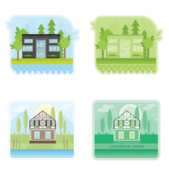 set of banners with modern ecological houses vector image