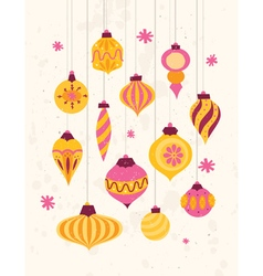 Set of festive retro christmas ornaments 50s style vector