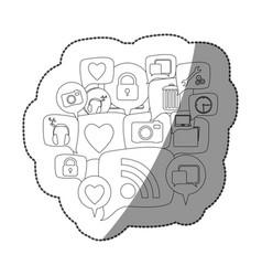 Sticker silhouette set collection dialogue social vector