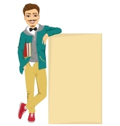 Student boy leaning against a blank board vector