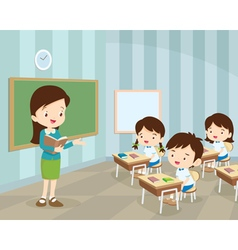 young teacher and students in classroom vector image vector image