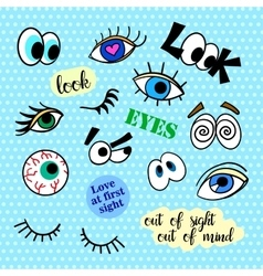 Fashion patch badges eyes set pop art stickers vector