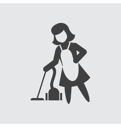 Maid with vacuum cleaner icon vector image
