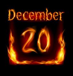 Twentieth december in calendar of fire icon on vector