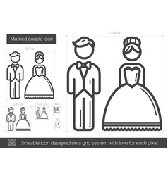 Married couple line icon vector