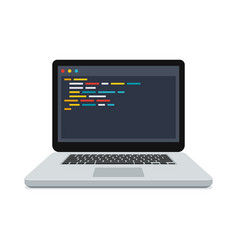 Code on the screen laptop vector