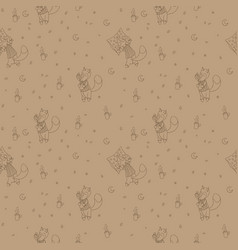 Seamless pattern with foxes in pajamas vector