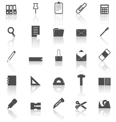 Stationary icons with reflect on white background vector image