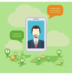 Call center concept with man in headset Hotline vector image
