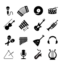 Assorted black musical instruments icons vector