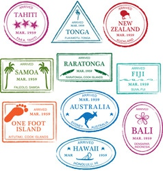 Tropical passport stamps vector