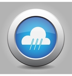 Blue metal button with weather - rainy vector
