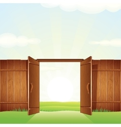 Village timber gate image for your design vector