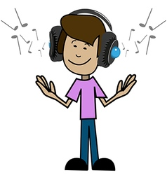 Cartoon man in headphones vector