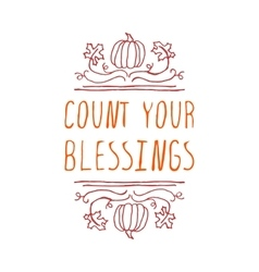 Count your blessings - typographic element vector