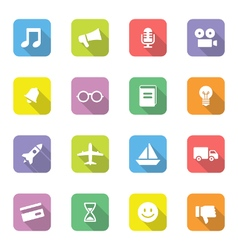 Colorful web icon set 5 on rounded rectangle with vector