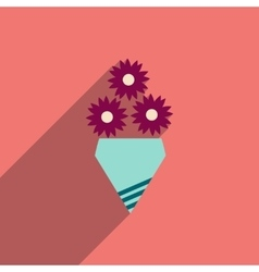 Flat icon with long shadow bouquet of flowers vector