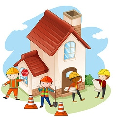 Construction workers building house vector