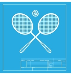 Tennis racket sign white section of icon on vector