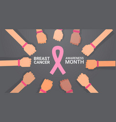 breast cancer day group of hands with pink ribbons vector image