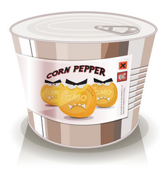 Can of gmo corn grains vector