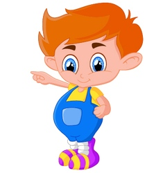 Cartoon boy presenting vector image vector image