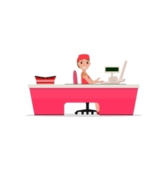 Cartoon girl sitting behind cash register vector