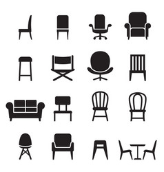 Chair seating icons set vector