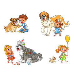 child walking with dog vector image vector image