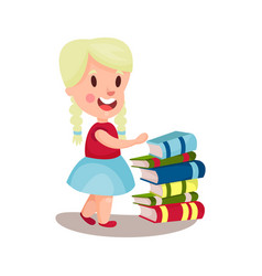 cute blonde girl standing next to a pile of books vector image