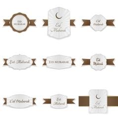 Eid mubarak realistic banners set vector