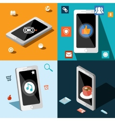 Four smart phones in panels vector image vector image