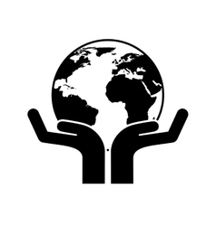 hands human with ecology icon vector image vector image